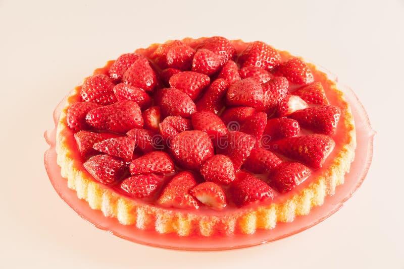 新鲜的草莓蛋糕 库存照片