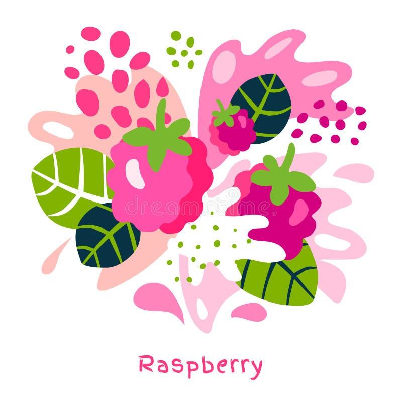 新鲜的莓莓果莓果汁飞溅有机食品水多的泼溅物在抽象背景 库存例证