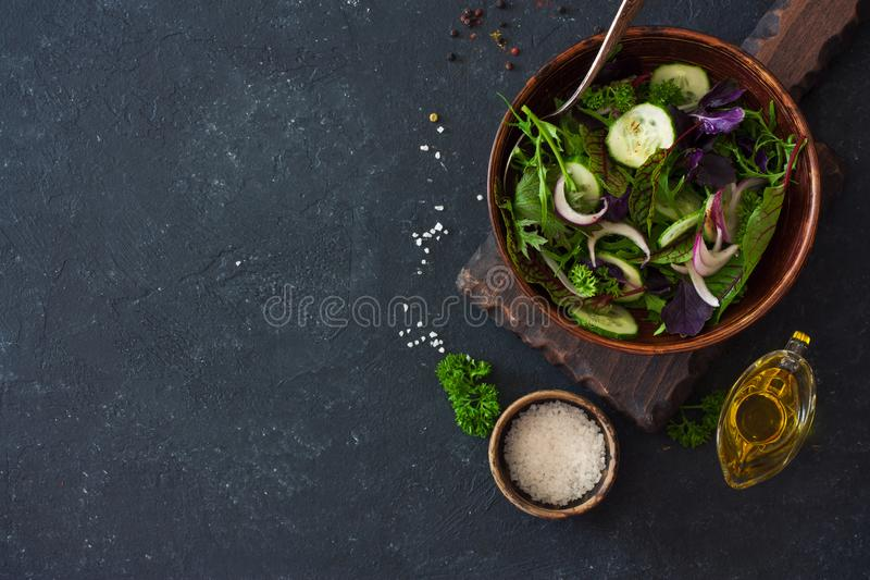 新鲜的莴苣、芝麻菜、frisee、蓬蒿、黄瓜和葱沙拉 免版税图库摄影