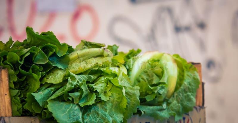 新鲜的莴苣在市场上 免版税库存图片