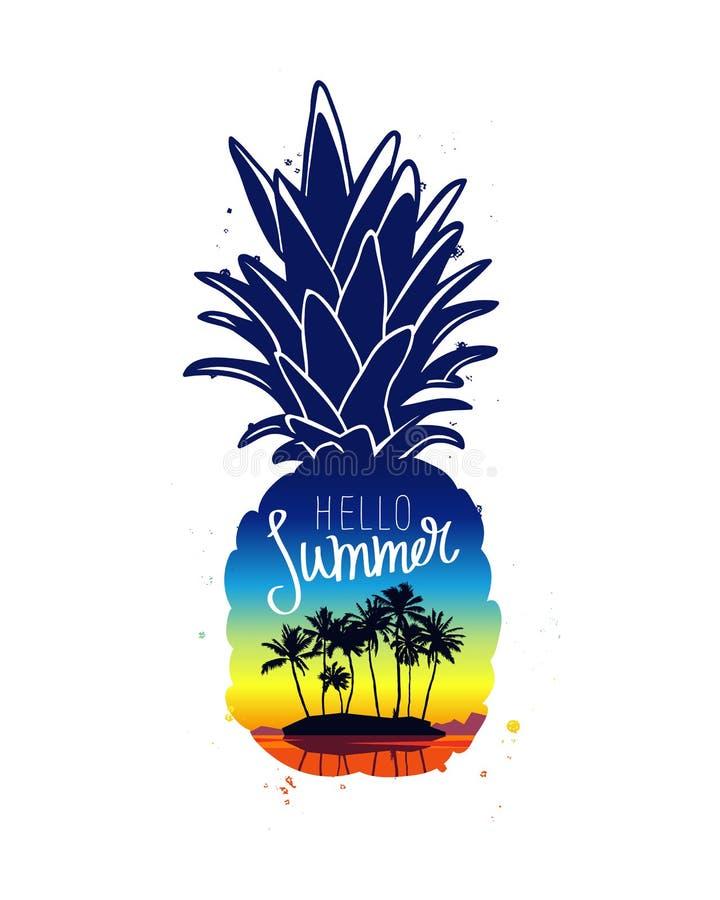 新鲜的菠萝 你好夏天 向量例证