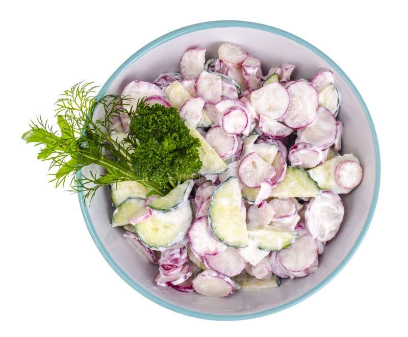 新鲜的萝卜,黄瓜沙拉用酸奶调味汁 免版税库存照片