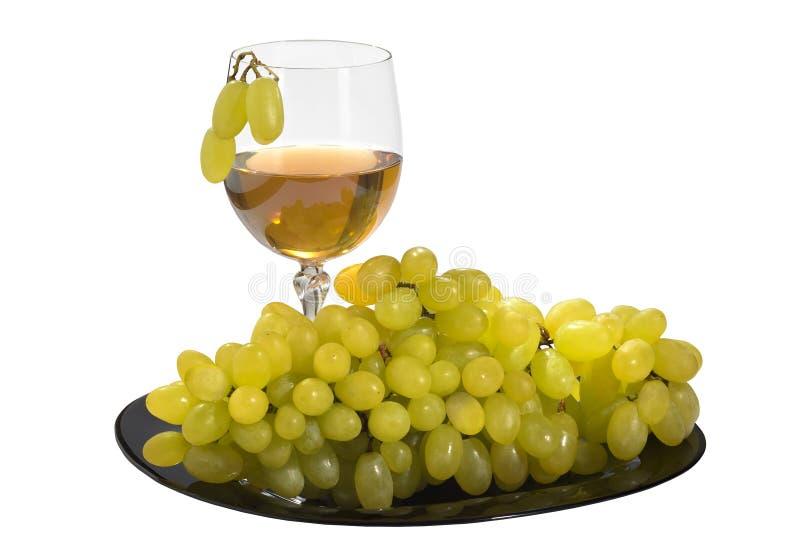 新鲜的葡萄和杯在白色被隔绝的背景的葡萄酒瓶 免版税库存图片