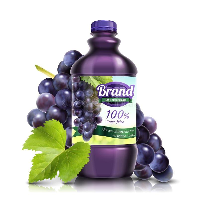 新鲜的葡萄被装瓶的汁液 皇族释放例证