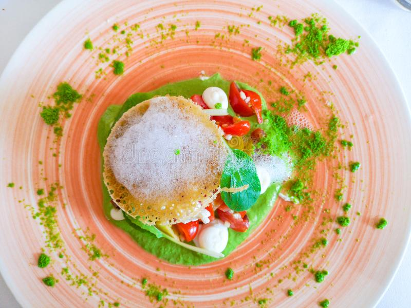 新鲜的蓬蒿沙拉用无盐干酪乳酪和蕃茄 库存照片