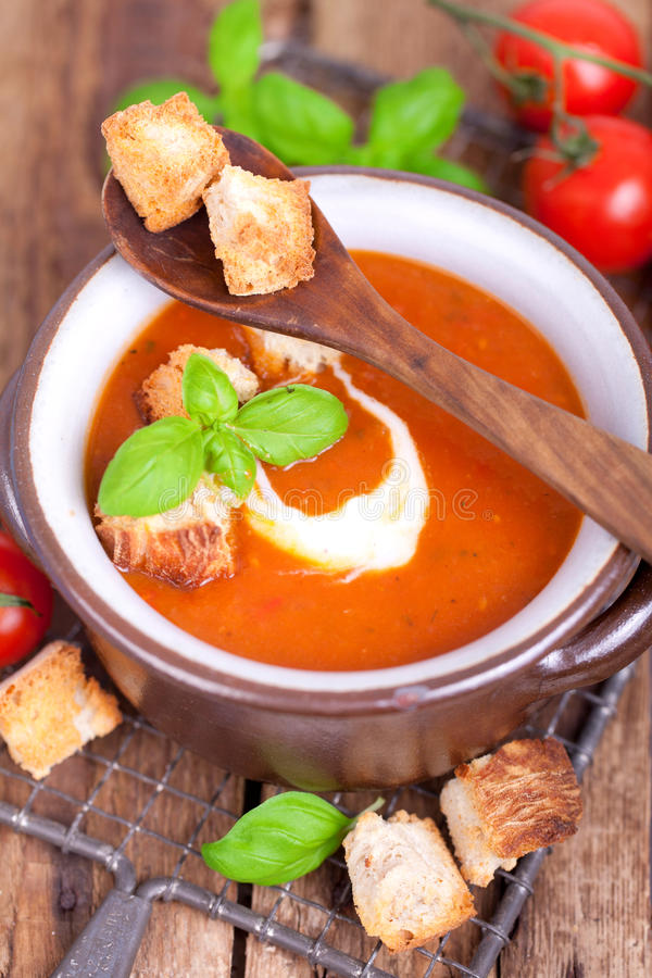 新鲜的蕃茄汤 图库摄影