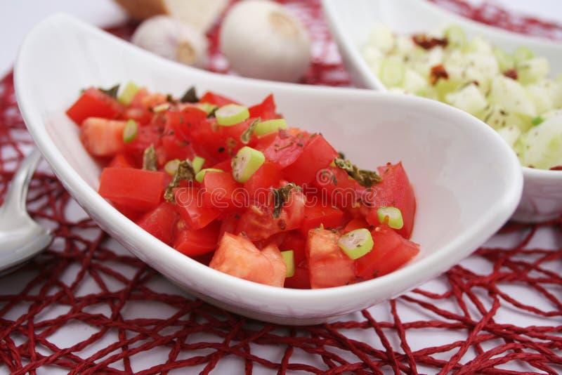 新鲜的蕃茄沙拉 免版税库存照片