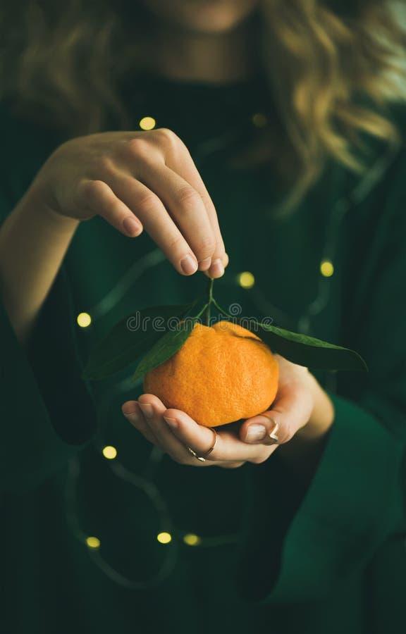 新鲜的蜜桔果子在穿绿色礼服的女孩的手上 免版税库存照片
