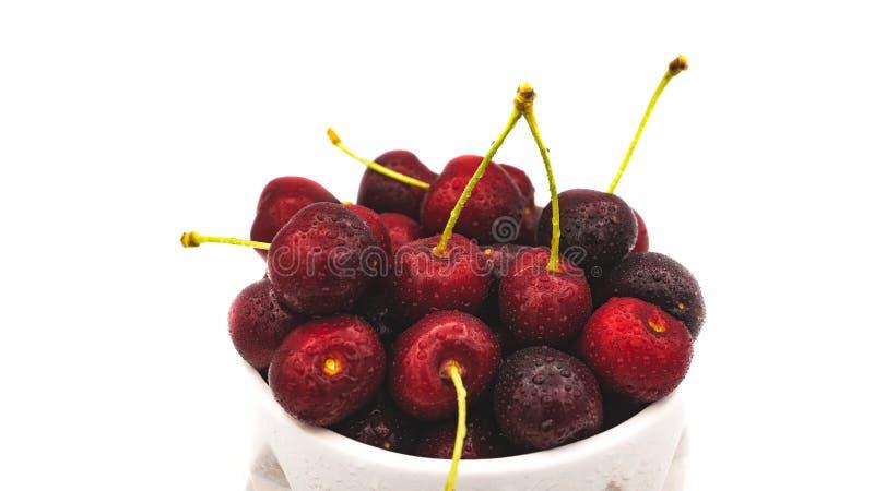新鲜的被洗涤的樱桃 库存图片