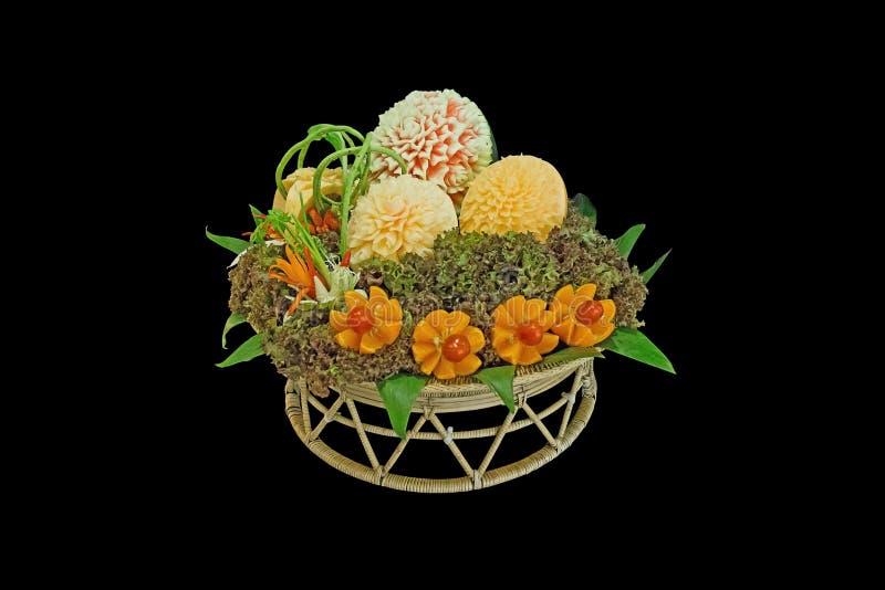 新鲜的被雕刻的混合水果和蔬菜的分类 库存图片