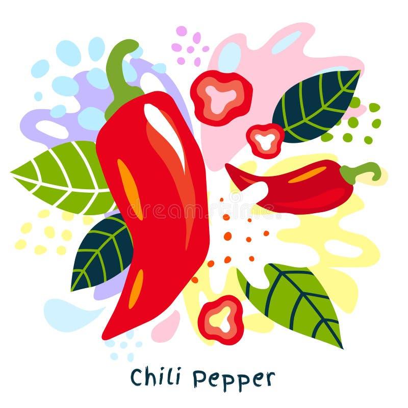 新鲜的辣椒蔬菜汁飞溅有机食品水多的菜在抽象背景传染媒介喷溅 皇族释放例证