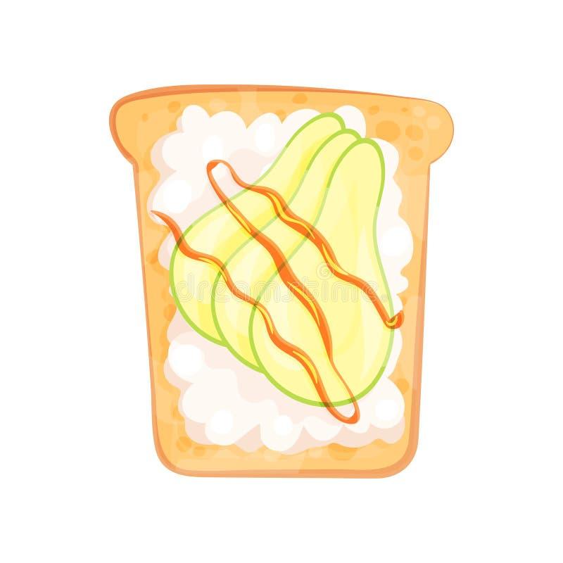 新鲜的酸奶干酪和鲕梨在切片敬酒的面包 鲜美和健康快餐 五颜六色的平的传染媒介象 向量例证