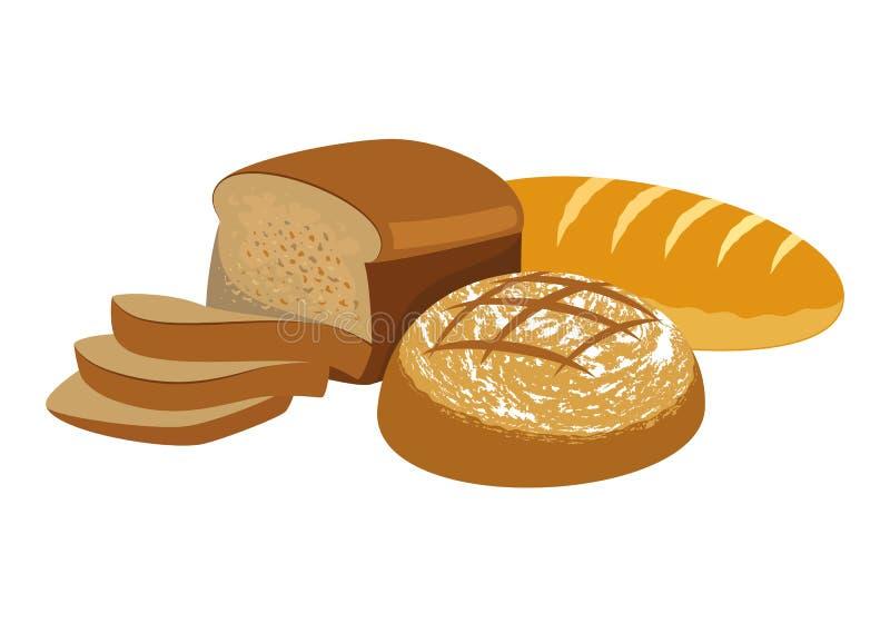 新鲜的面包 面包店产品汇集 库存例证