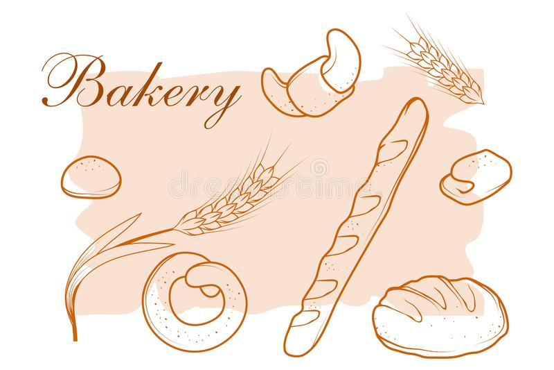 新鲜的面包 面包店设计图象产品 库存例证