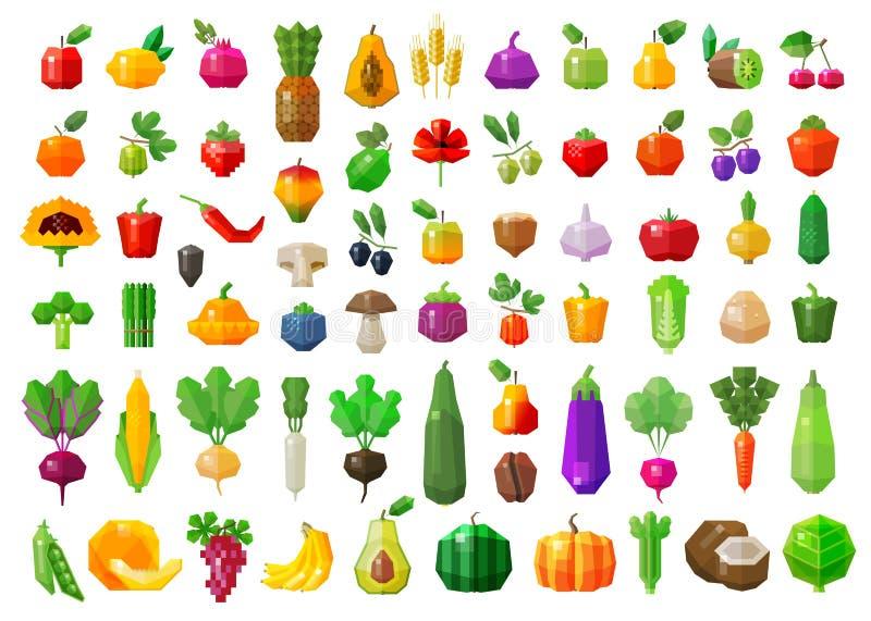 新鲜的食物 被设置的蔬菜和水果象 向量例证