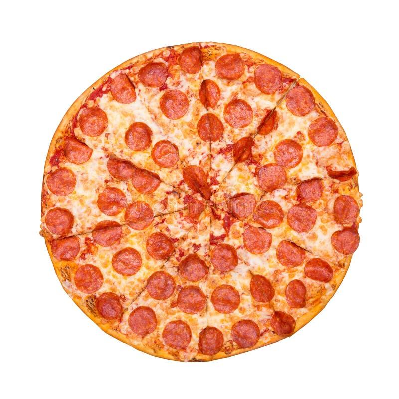 新鲜的鲜美比萨用在白色背景隔绝的意大利辣味香肠 r 图库摄影