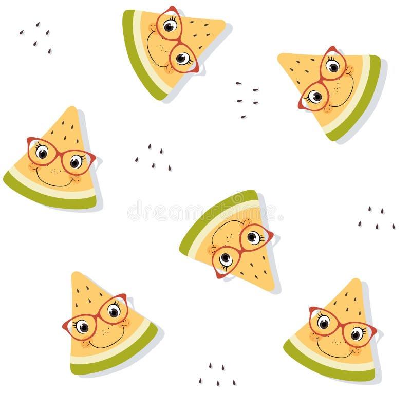 新鲜的黄色西瓜的无缝的样式与面孔、玻璃和下落阴影的 夏天果子背景 库存例证