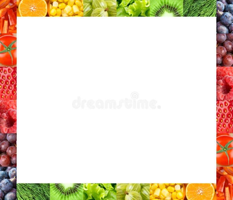 新鲜的水果和蔬菜框架 库存照片