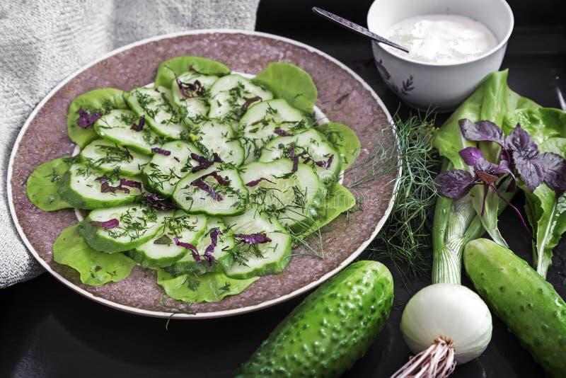 从新鲜的黄瓜和绿色的沙拉 免版税库存照片