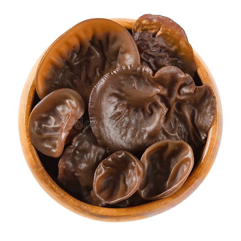 新鲜的黑真菌,木耳朵,在木碗 免版税库存图片