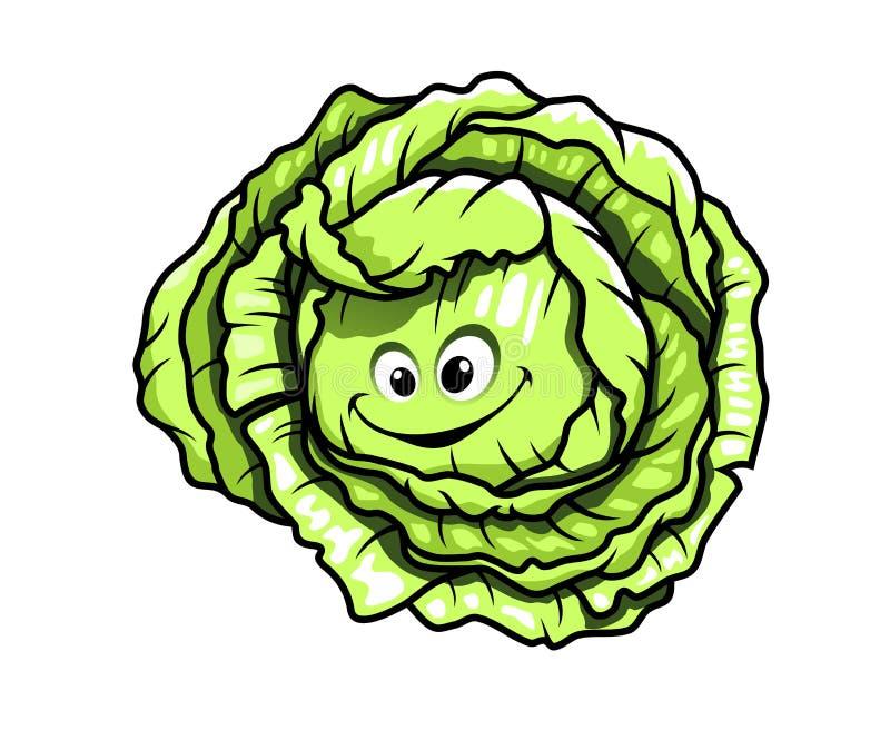 新鲜的绿色健康动画片圆白菜 库存例证