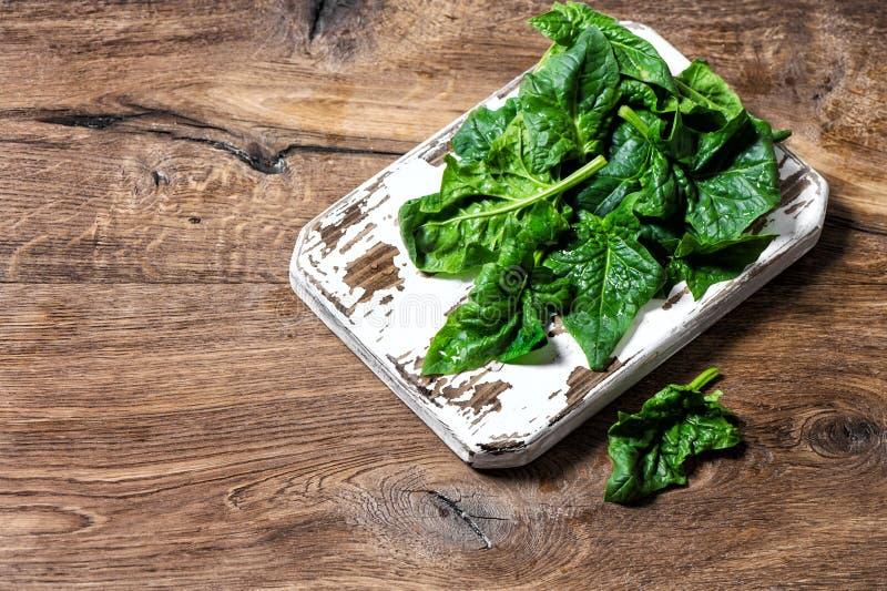 新鲜的绿色菠菜留下健康有机食品 免版税库存图片