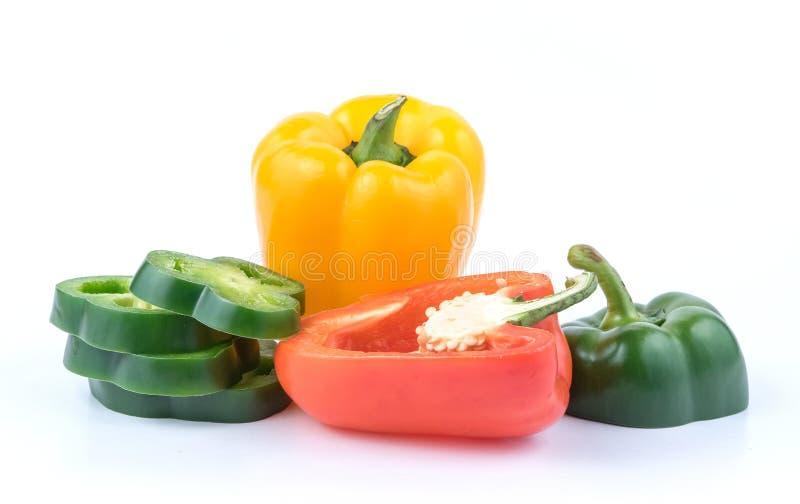 新鲜的绿色黄色和红辣椒 库存照片