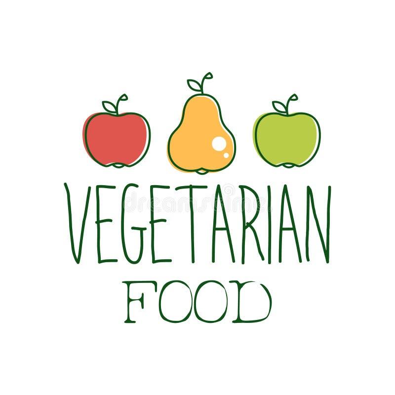 新鲜的素食主义者食物增进标志用两个苹果和一个梨素食主义者、素食主义者和未加工的食物的饮食菜单的 皇族释放例证