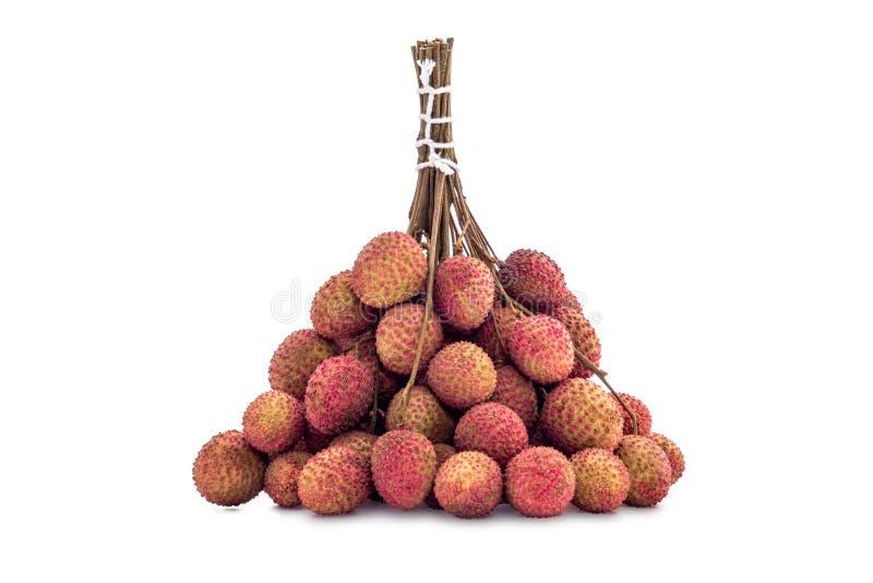 新鲜的lychee有孤立白色背景 免版税库存照片