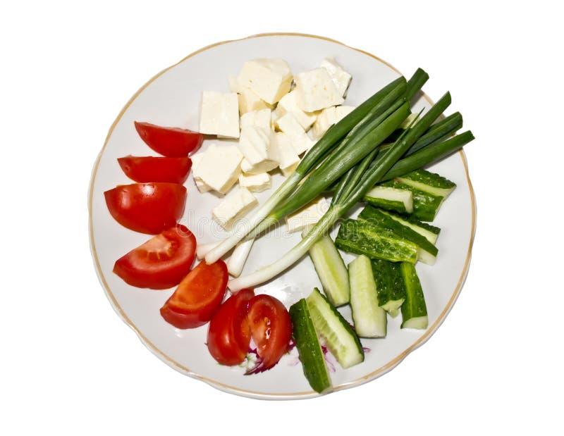 新鲜蔬菜和乳酪 免版税库存照片