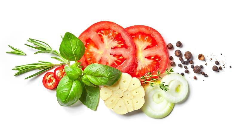 新鲜蔬菜和香料的构成 库存图片