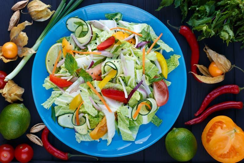 新鲜蔬菜泰国沙拉用大豆在蓝色板材发芽, 图库摄影