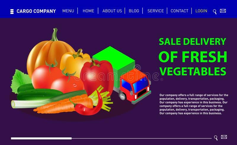 新鲜蔬菜销售交付  向量例证