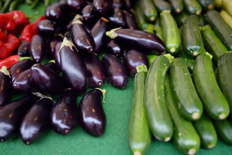 新鲜蔬菜-夏南瓜、南瓜、茄子、茄子和胡椒在农夫农业市场上 免版税库存照片
