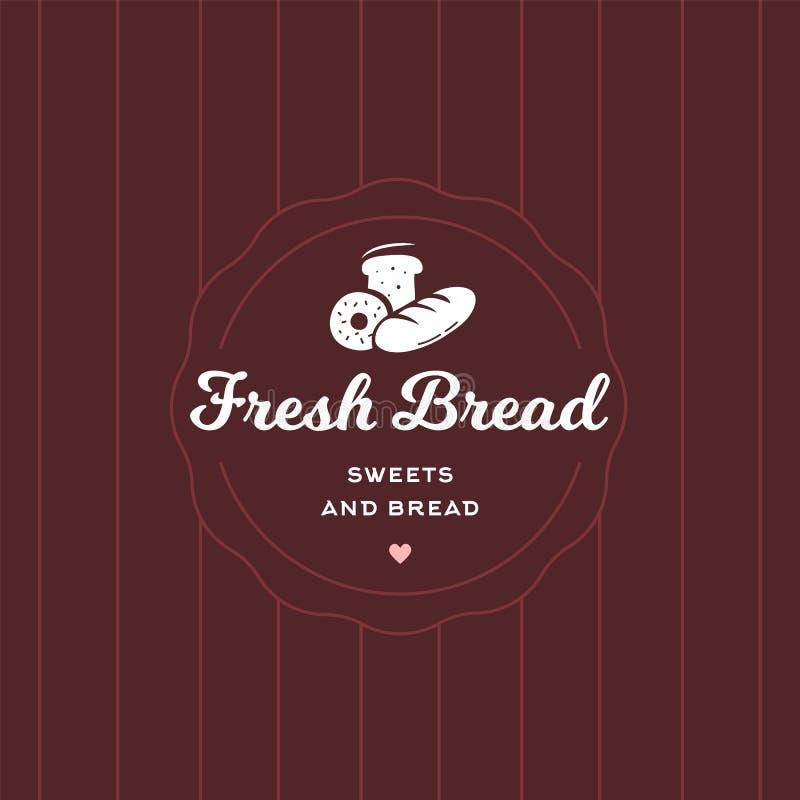 新鲜面包减速火箭的样式商标徽章模板 咖啡馆和餐馆象征,甜点的标志购物,在现代贴纸样式的酥皮点心 库存例证