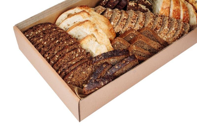 新鲜面包切片混合纸盒交付箱子隔绝了 库存图片
