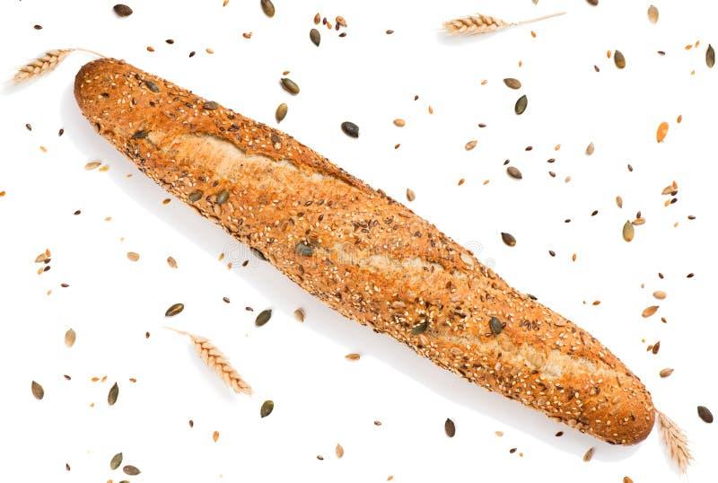 新鲜面包有谷物顶视图 库存图片