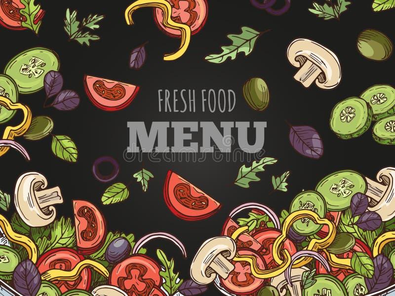 新鲜食品菜单盖子传染媒介模板 手在黑板背景速写了素食主义者沙拉 皇族释放例证
