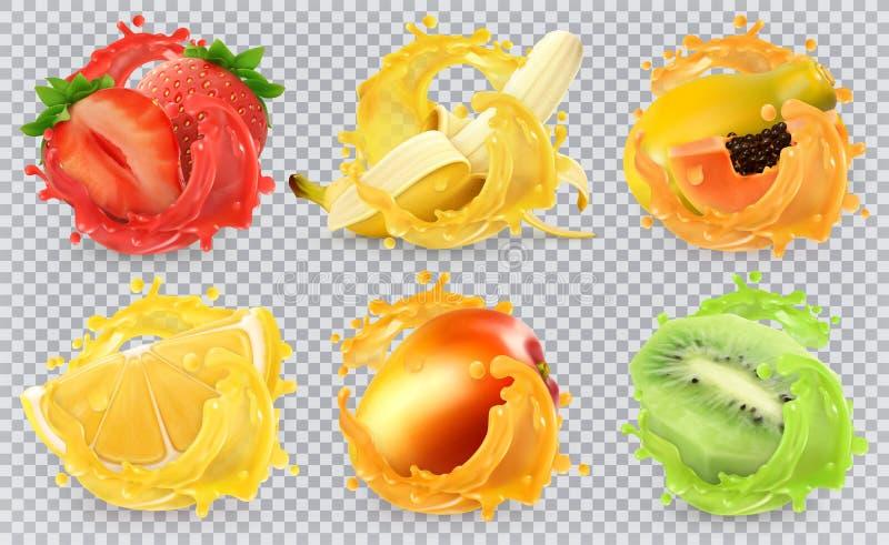 新鲜水果和飞溅, 3d现实传染媒介象集合 向量例证