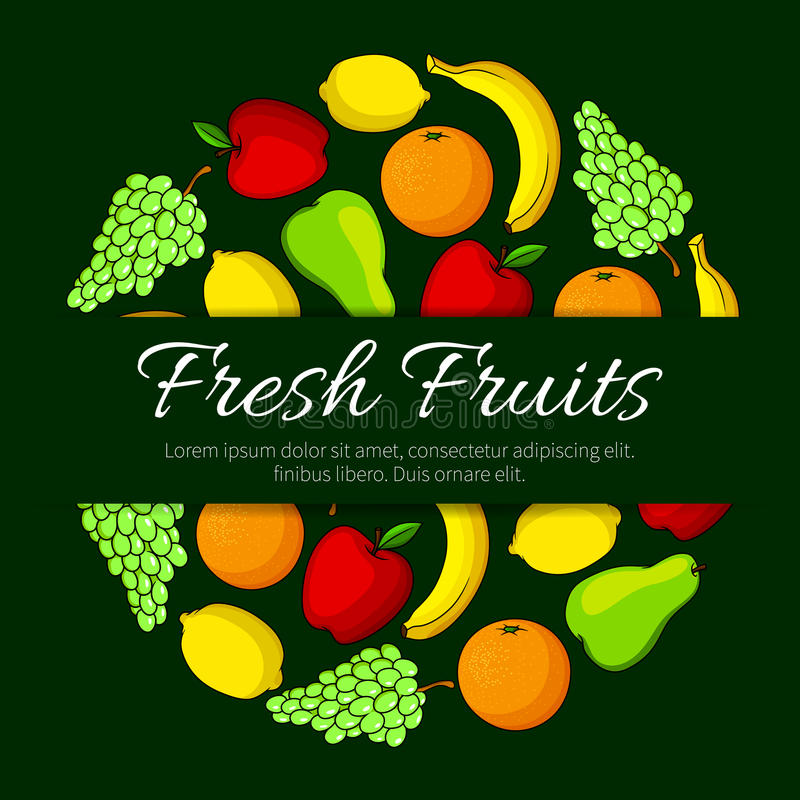 新鲜水果圆的传染媒介有机果子海报 向量例证