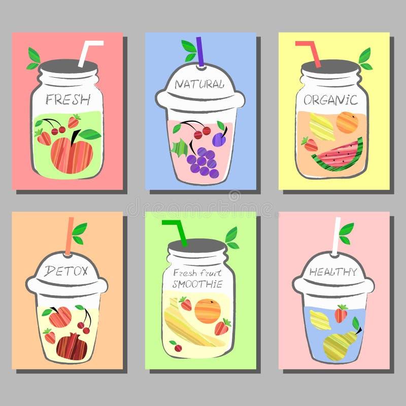 新鲜水果圆滑的人,用不同的果子的戒毒所水五颜六色的卡片 皇族释放例证