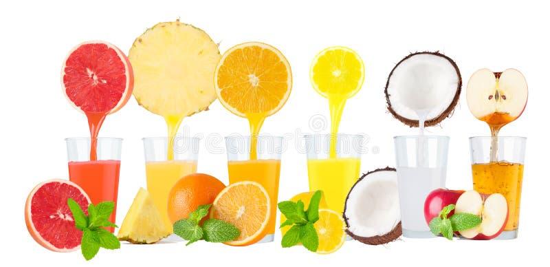 新鲜水果汁拼贴画在白色背景的 图库摄影