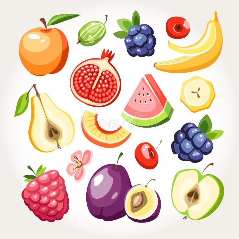 新鲜水果莓果汇集 向量例证