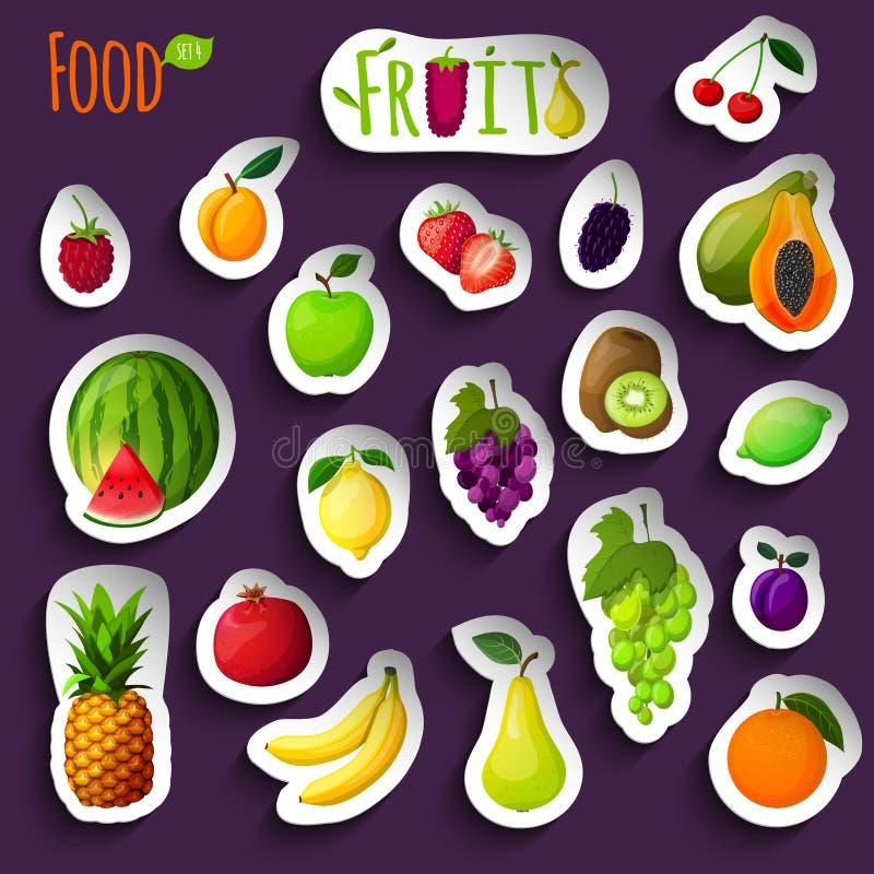 新鲜水果贴纸 库存例证