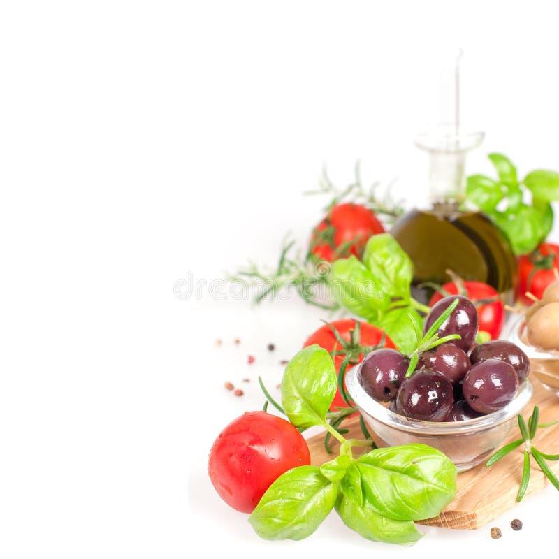 新鲜vegatable和油 库存照片