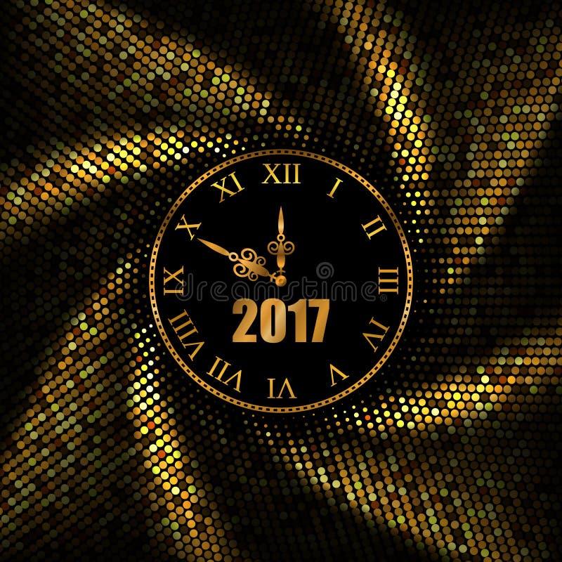 2017新年与时钟的金背景 也corel凹道例证向量 皇族释放例证