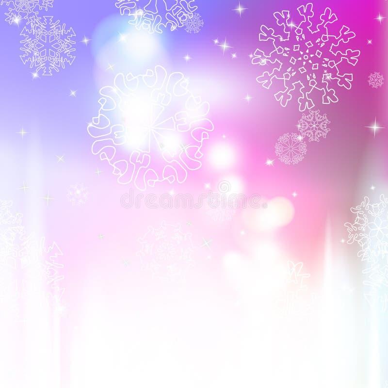 新年与雪花的迷离背景 库存例证
