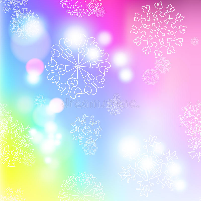 新年与雪花的迷离背景 向量例证