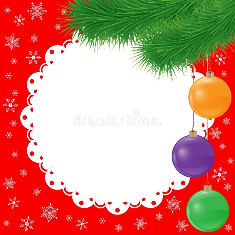 新年传染媒介与云杉的分支和怒视的玻璃球的卡片背景 皇族释放例证
