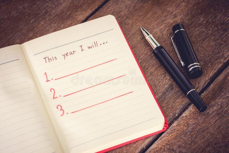 新年决议,空的名单 图库摄影